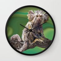 psychadelic Wall Clocks featuring Melanie's Marmoset by Distortion Art
