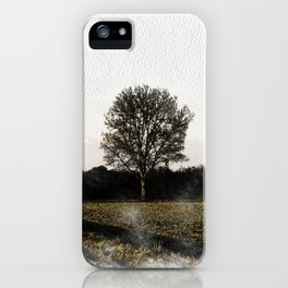 Solitary tree in the Ticino river natural park during winter before sunset iPhone Case