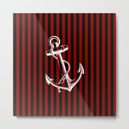 Red Black White Anchor and Stripes Metal Print