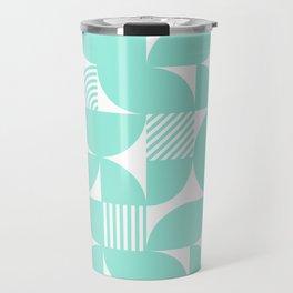 Seafoam Mid Century Bauhaus Semi Circle Pattern Travel Mug