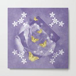 Secret Garden with Gold Butterflies in Ultraviolet Metal Print