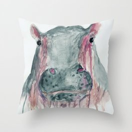 Hippopotamus caesosque Throw Pillow