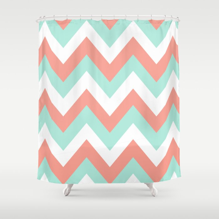 MINT CORAL CHEVRON Shower Curtain By Nataliesales