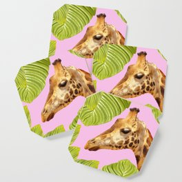 Giraffe with green leaves on a pink background Coaster