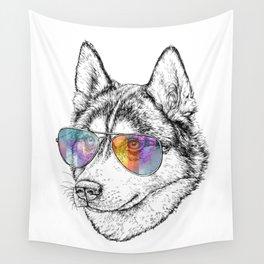 Husky Dog Graphic Art Print. Husky in glasses Wall Tapestry