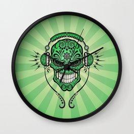 Green DJ Sugar Skull with Headphones Wall Clock