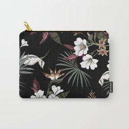 Beautiful Dark Floral Pattern Carry-All Pouch