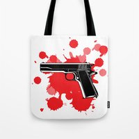 guns Tote Bags featuring Guns Kill by DaceDesigns