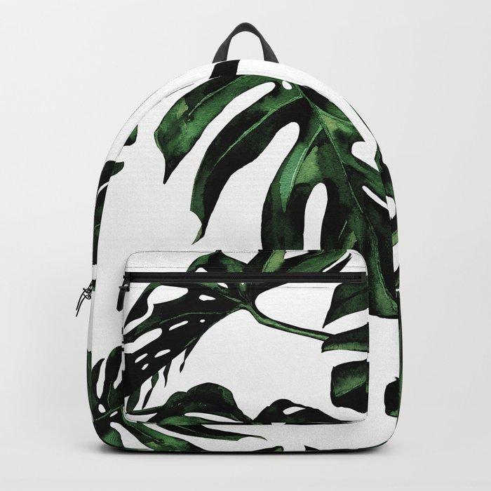 Tropical Green Palm Leaves Backpack