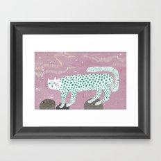 Show leopard in pink skies Framed Art Print