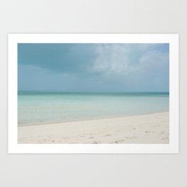 White sand beach, crystalline turquoise ocean and stormy sky - Turks and Caicos  - Fine Art  Art Print
