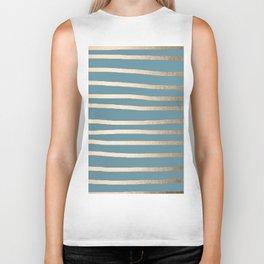 Abstract Drawn Stripes Gold Tropical Ocean Blue Biker Tank