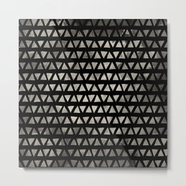 Cream and Black Ink Triangles Metal Print