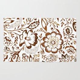Folk Floral Brown Rug