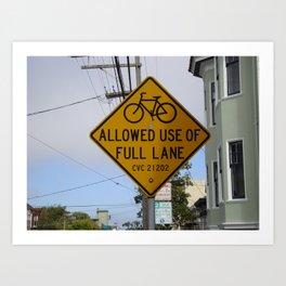 Bike Sign San Francisco Art Print