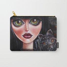 Batgirl Victorian Goth Girl with Grey Bat Big Green Eyes Carry-All Pouch