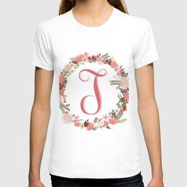 Personal monogram letter 'T' flower wreath T-shirt
