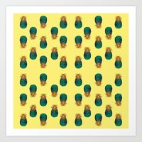 pineapples Art Prints featuring PINEAPPLES by Heaven7