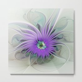 Flourish, abstract Fantasy Flower Metal Print
