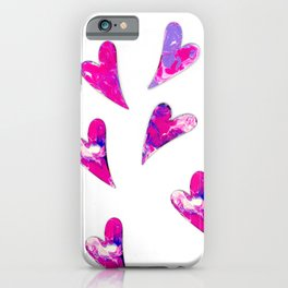 Pink and Purple Hearts on Parade iPhone Case