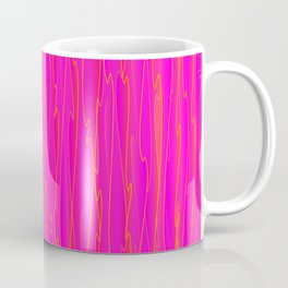 Vertical curved orange lines on a pink tree. Coffee Mug