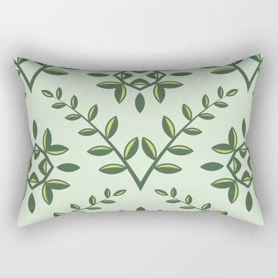 Green Olive Branch Pattern Rectangular Pillow