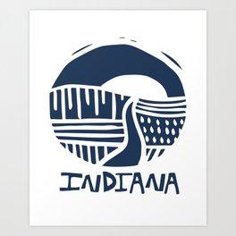 Indiana The Crossroads of America Blue Art Print