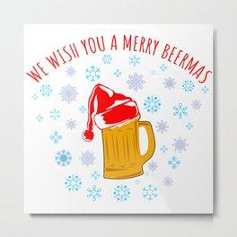 Wish You A Meery Beermas T-Shirt Metal Print