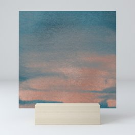 Abstract sky blue rose gold watercolor sunset Mini Art Print