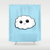 cloud Shower Curtains featuring Cloud by Ollie Bright Art