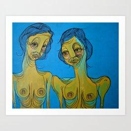 blue line ladies Art Print