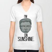 christopher walken V-neck T-shirts featuring Walken On Sunshine by Ryan Marsolek