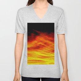 Black Yellow Red Sunset Unisex V-Neck