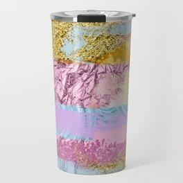 Purple Plum Gold & Blue Brushes Travel Mug