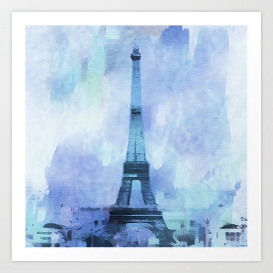 Blue Eifel Tower Paris France abstract painting Art Print