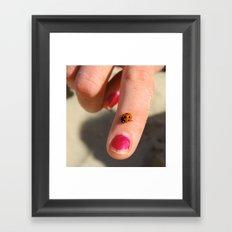 Ladybug On A Lady's Finger Framed Art Print