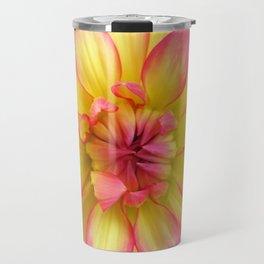 Pink and Yellow Dahlia Flower / Nature Macro Photography Travel Mug