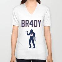 patriots V-neck T-shirts featuring Brady 4 Time Champ by Rob Smolinsky