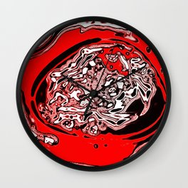 Red Black White Abstract Wall Clock