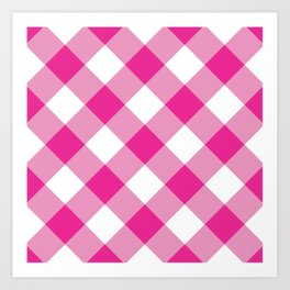 Gingham - Pink Art Print