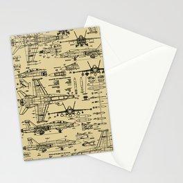 F-18 Blueprints // Tan Stationery Cards