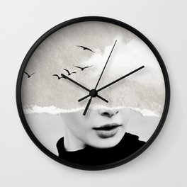 minimal collage /silence Wall Clock