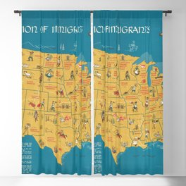 Vintage Map Print - A Nation of Immigrants (1959) Blackout Curtain