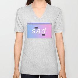 Sad Aesthetic Vaporwave Gift Notepad Window Emotional design Unisex V-Neck