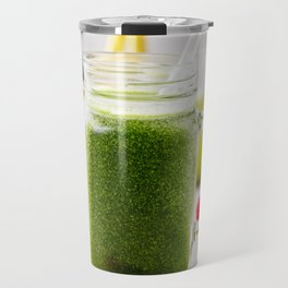 Close-up of green fresh smoothie with fruits, berries, oats and seeds, selective focus. Travel Mug