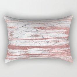Elegant faux rose gold brushstrokes gray marble Rectangular Pillow