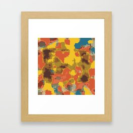 vintage psychedelic geometric painting texture abstract in orange yellow brown blue Framed Art Print