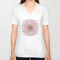 alice V-neck T-shirts featuring Sunflower Mandala by Janet Broxon