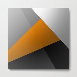Metallic I - Abstract, geometric, metallic textured gold, silver and black metal effect artwork Metal Print