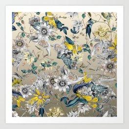 Exotic Elegant Fragrant Floral Garden in Gold Art Print